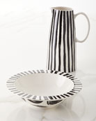 Deco Pedestal Pitcher and Rimmed Bowl