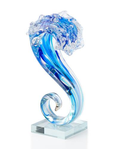Art Glass Small Wave Glass Sculpture