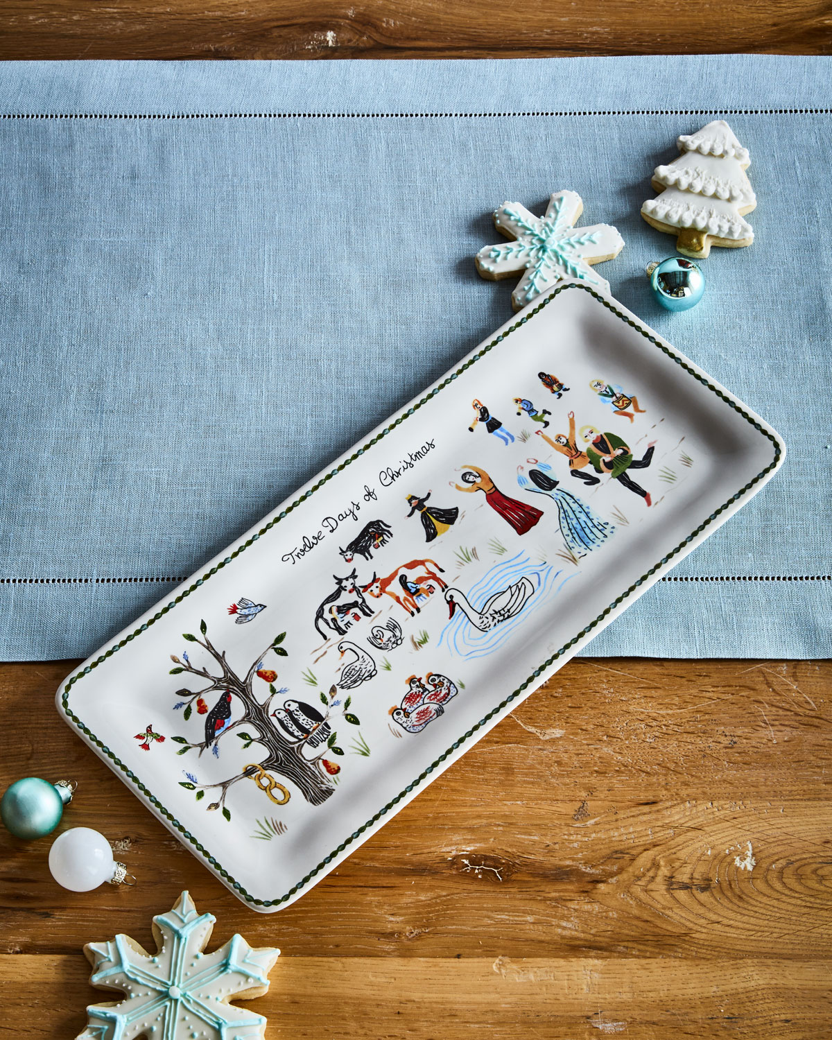 Twelve Days of Christmas Rectangular Hostess Tray