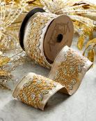 D. Stevens Faux-Metallic Doupioni Jeweled Ribbon