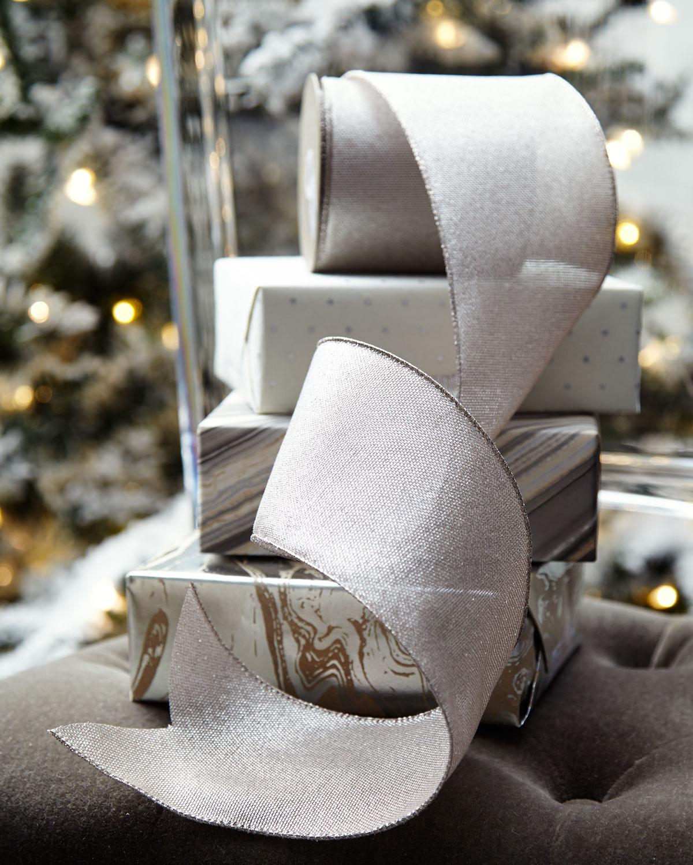 Metallic Linen Holiday Ribbon