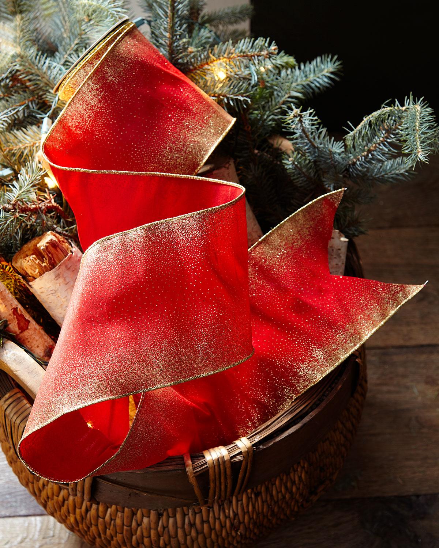 Faux-Doupioni Holiday Ribbon with Starburst Glitter Edges