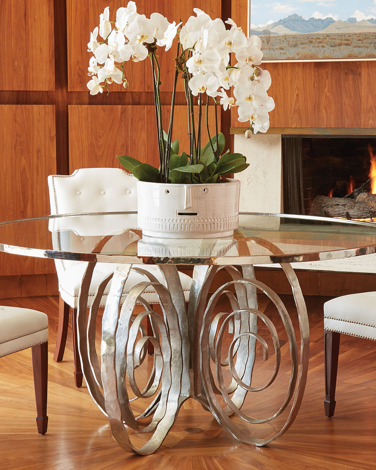 Delicate Scroll GlassTop Dining Table