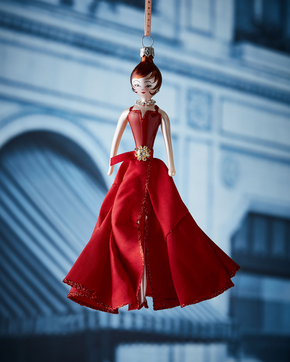 Julia in Burgundy Gown Christmas Ornament