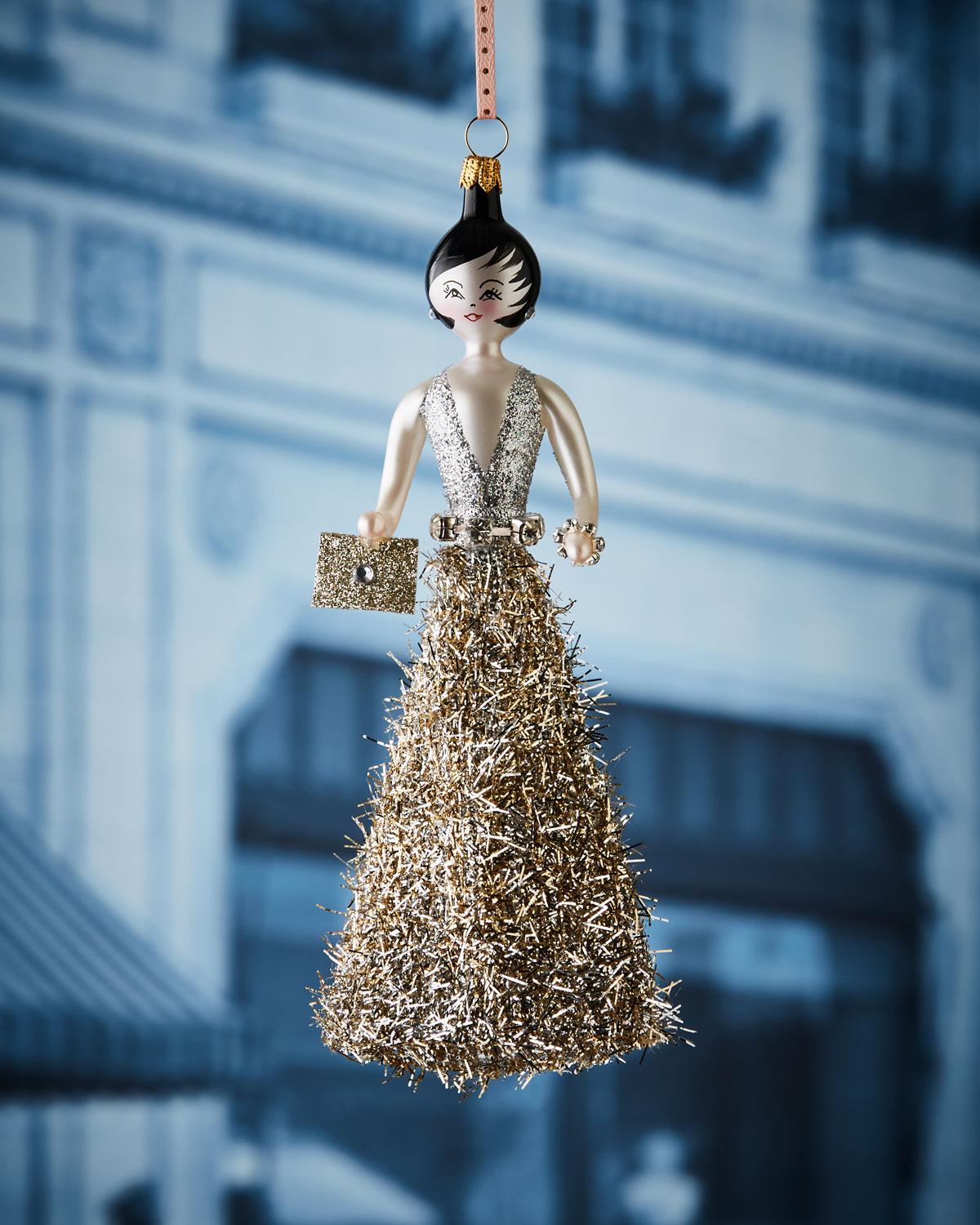 Christine in Gold & Silver Gown Christmas Ornament