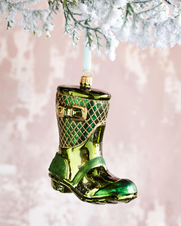 Glass Rain Boot Christmas Ornament