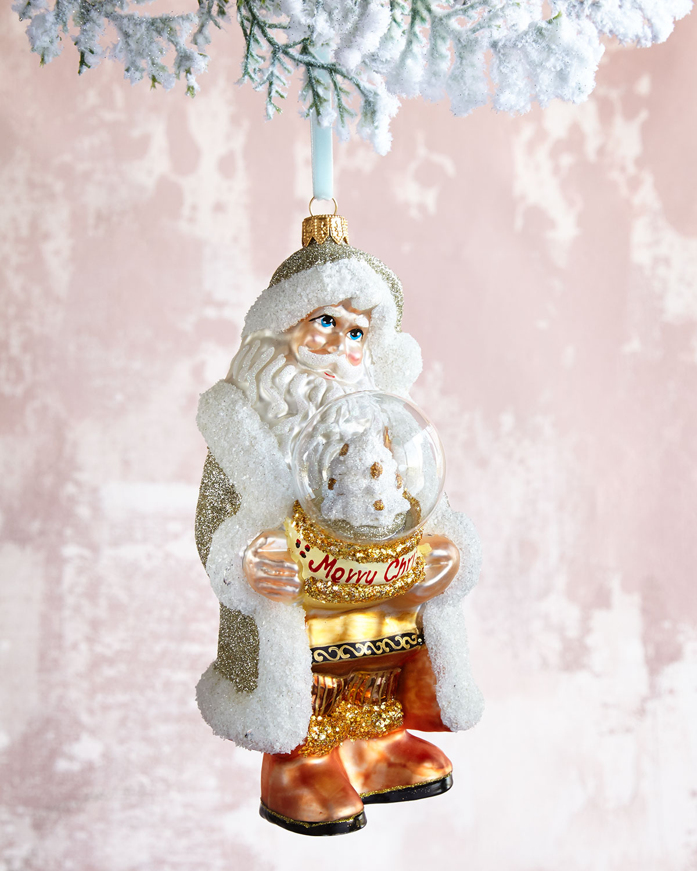 Santa with Globe Christmas Ornament