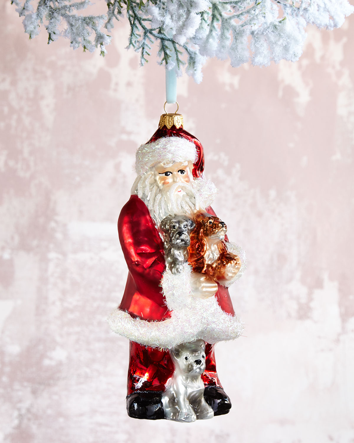 Santa with Puppies Christmas Ornament