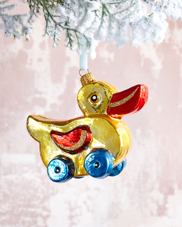 Wheeled Duck Glass Christmas Ornament