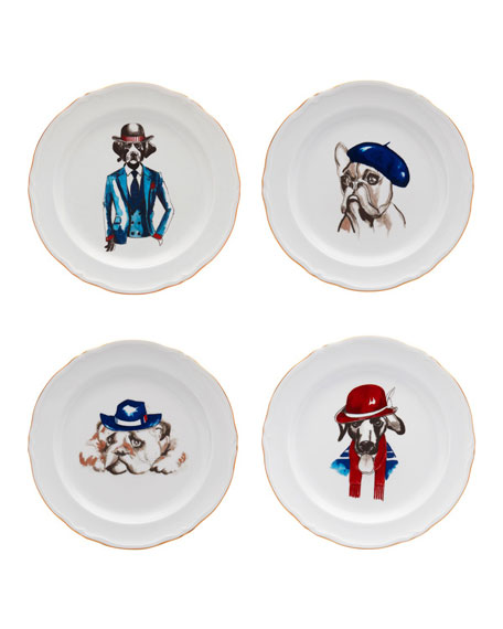 Haviland Le Frenchies Dessert Plates, Set of 4