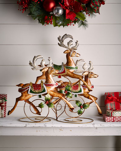 classic christmas prancing reindeers decor - Neiman Marcus Christmas Decor