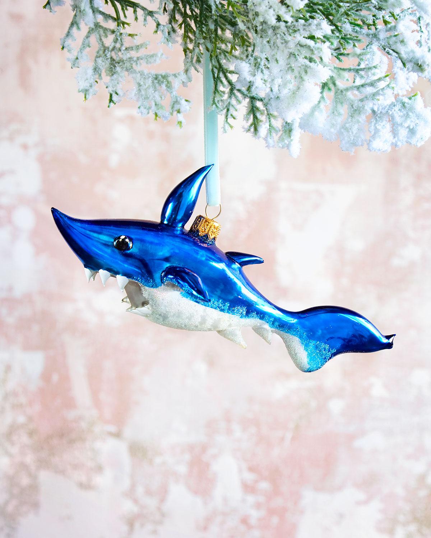 Glass Shark Christmas Ornament