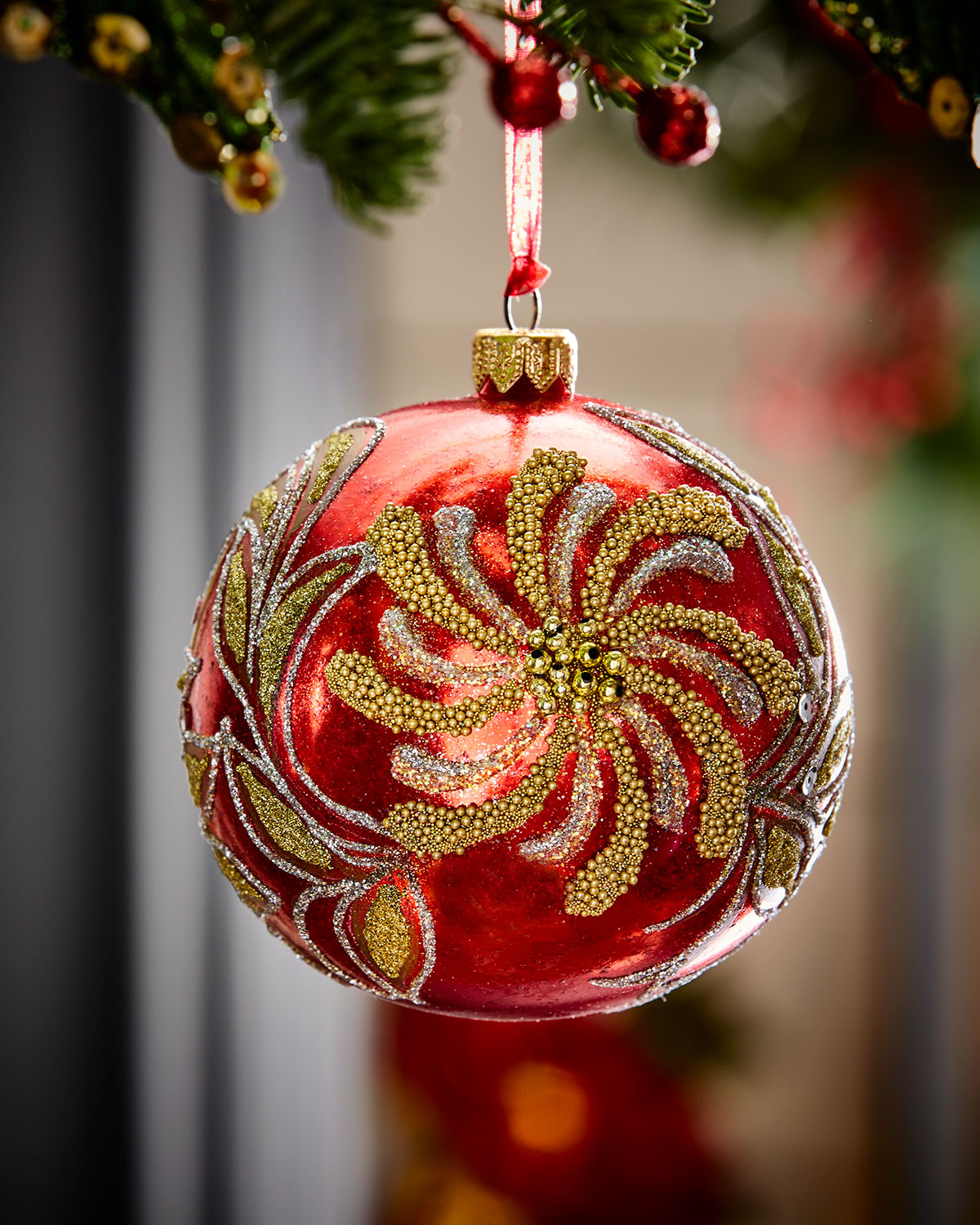 Red Glass Ball Christmas Ornament With Deco