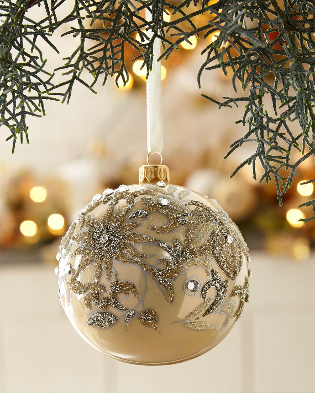 Champagne Opal Glass Ball Christmas Ornament