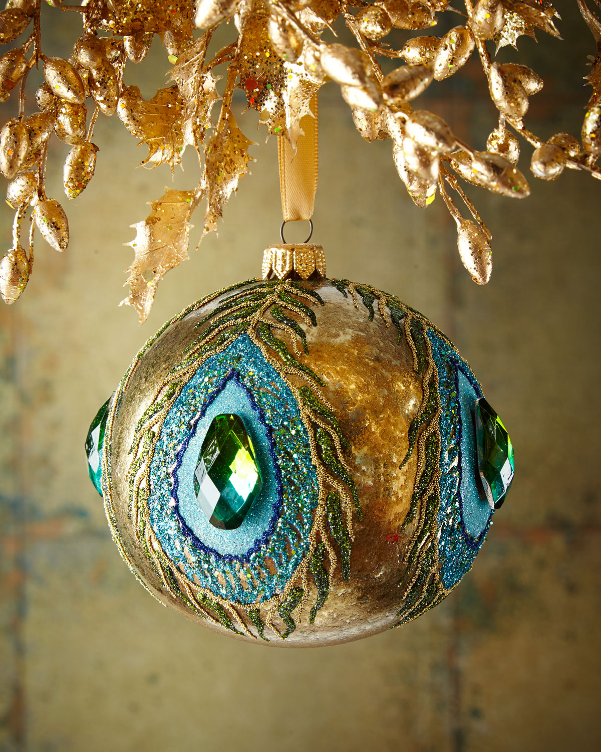 Gold Glassy Peacock Glass Ball Christmas Ornament