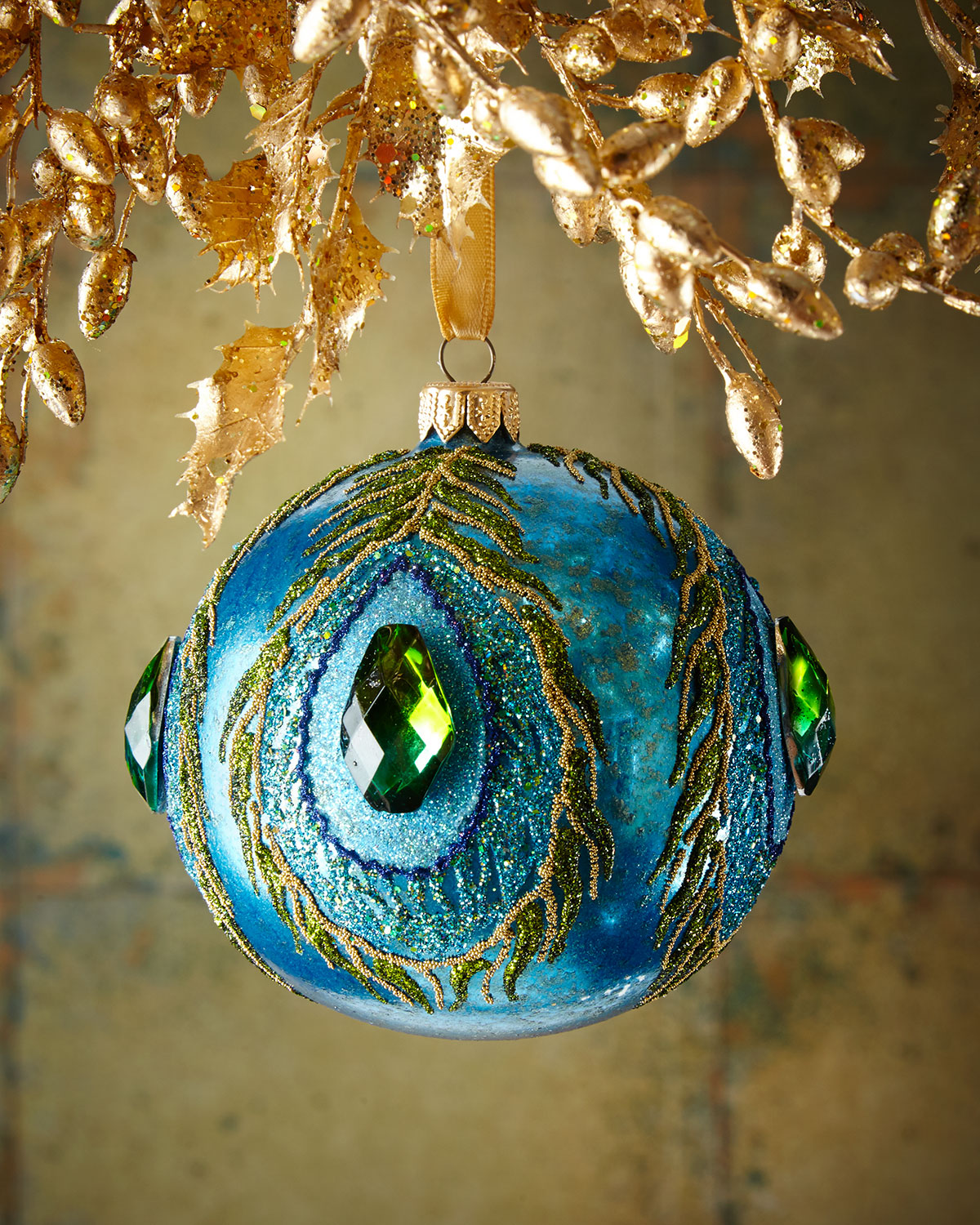 Sapphire Glassy Peacock Ball Christmas Ornament