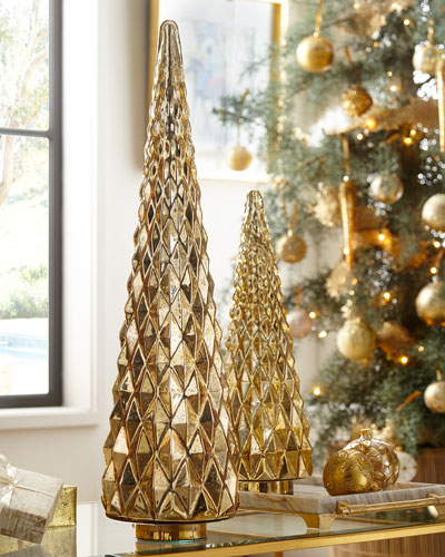 mercury glass hobnail tabletop christmas tree large