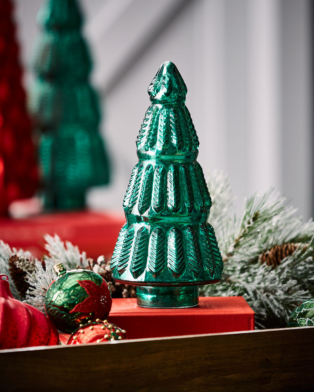 Mercury-Glass Green Leaf Tabletop Christmas Tree, Small