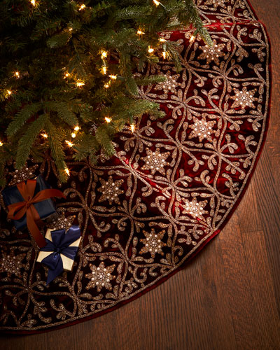 Hand-Embroidered Velvet Tree Skirt