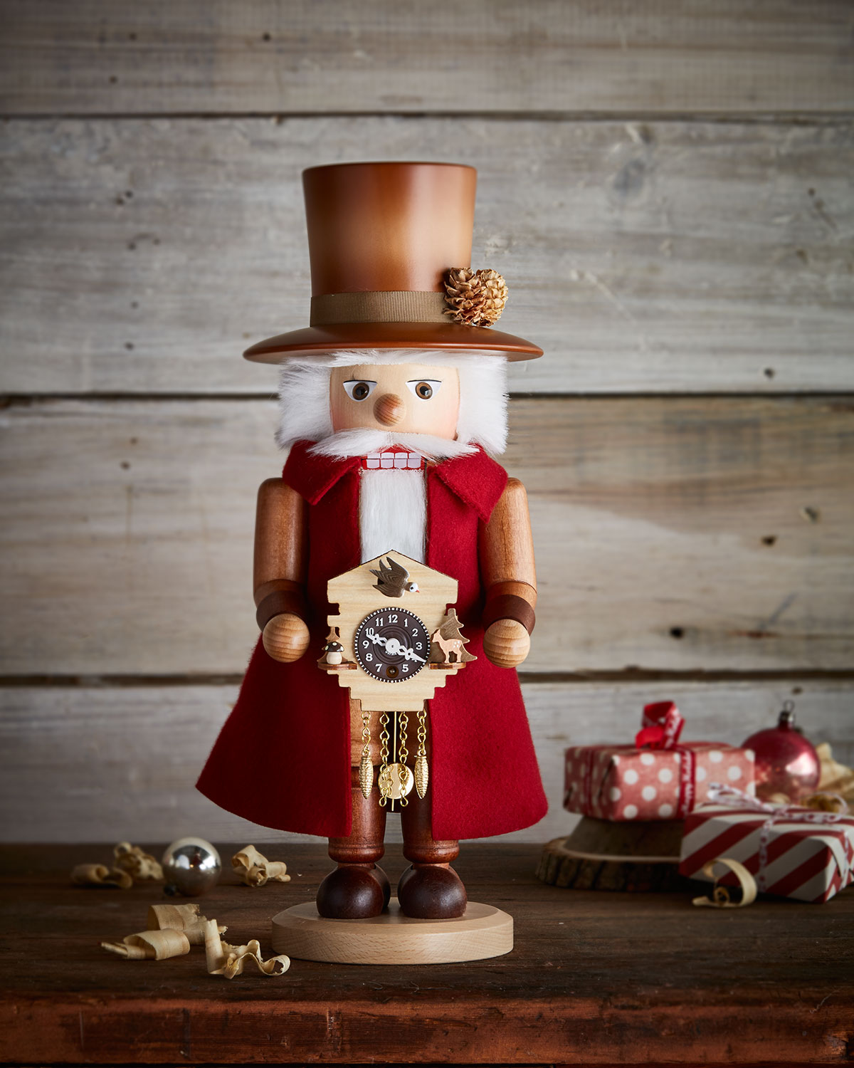 Wooden Clockmaker Nutcracker