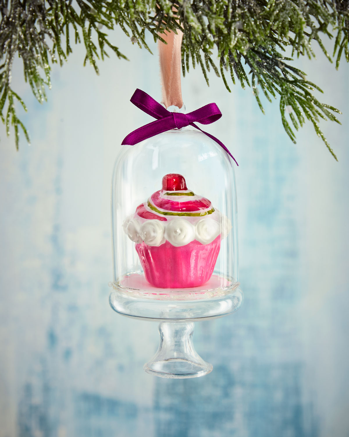 Pink Cupcake in Dome Christmas Ornament
