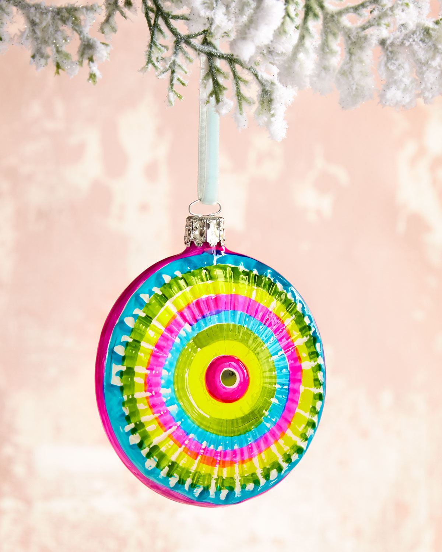 Bright Disc Glass Christmas Ornament