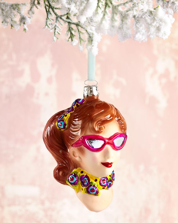 Girls Head Glass Christmas Ornament
