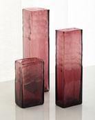 Assorted Cut Vases, Purple, Set of 3