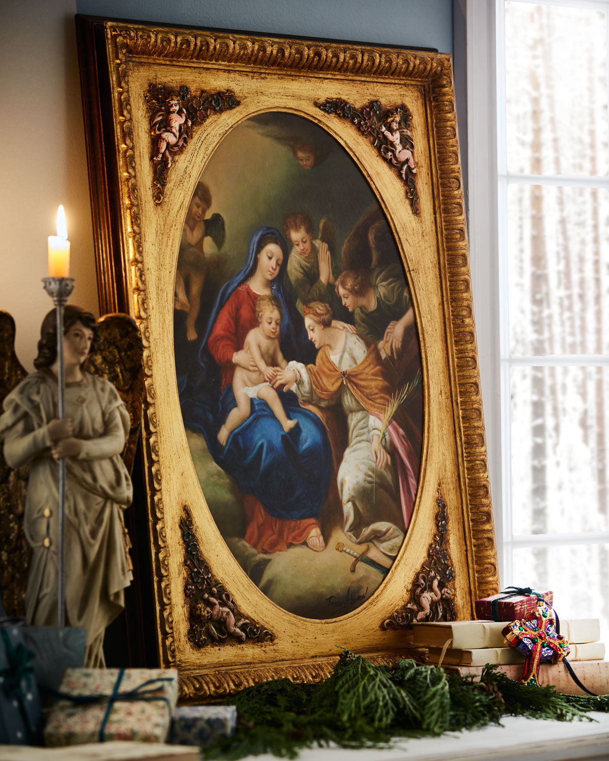 Madonna with Child and Angel Framed Art Christmas Decor