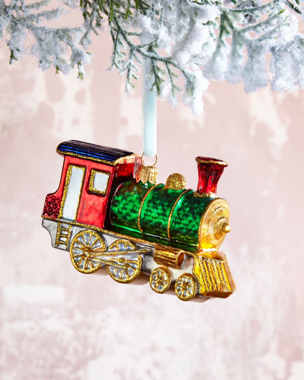Train Engine Glass Christmas Ornament