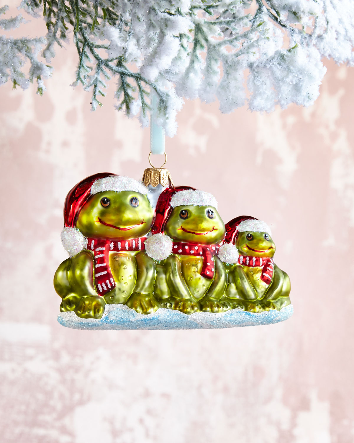Three Frogs Christmas Ornament