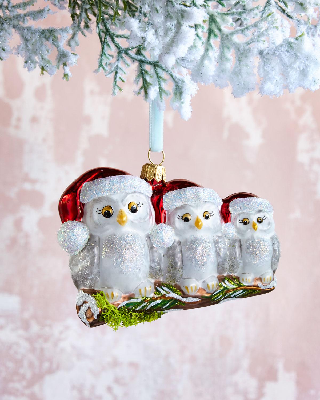 Three White Owls Christmas Ornament