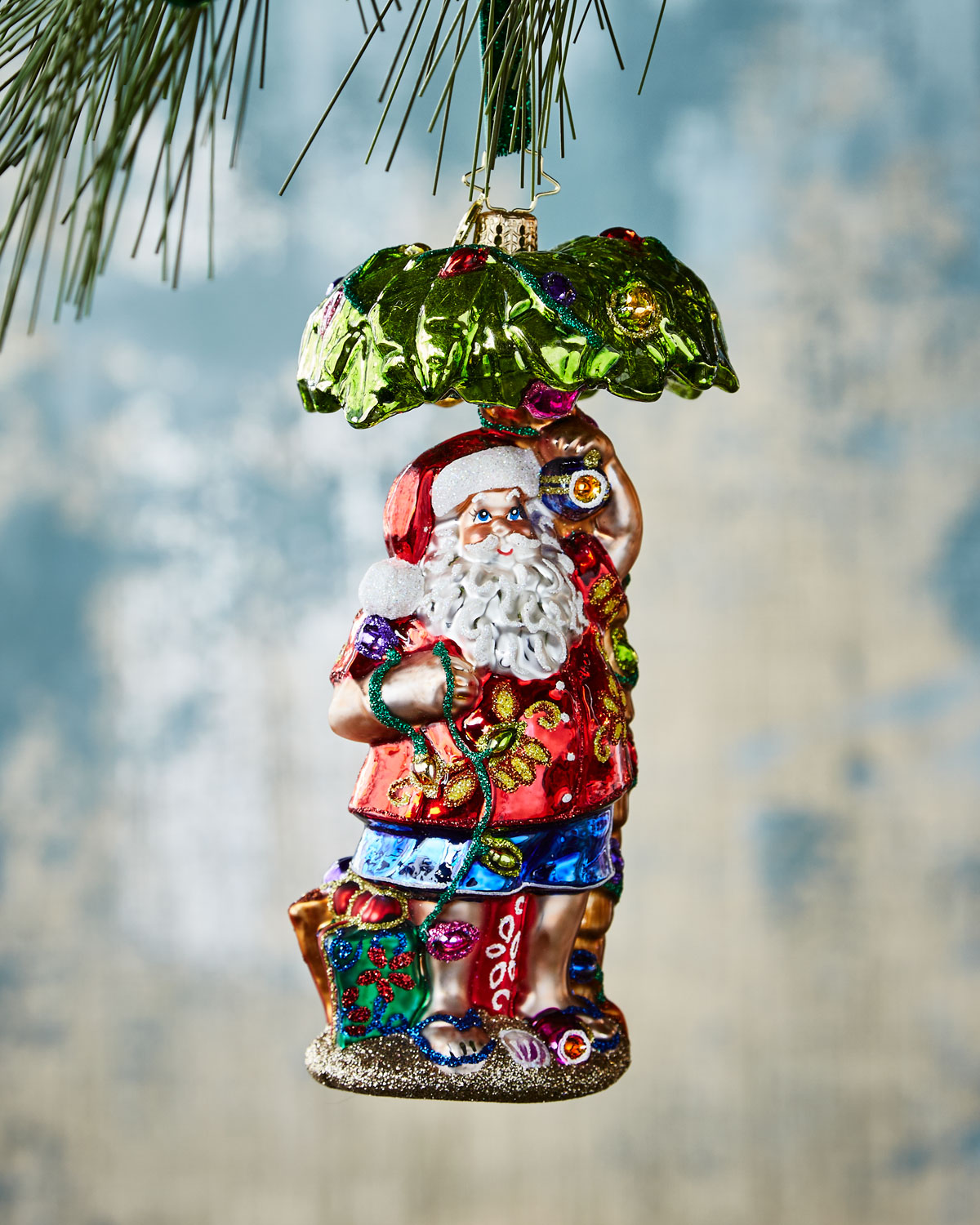 Claus in Paradise Christmas Ornament