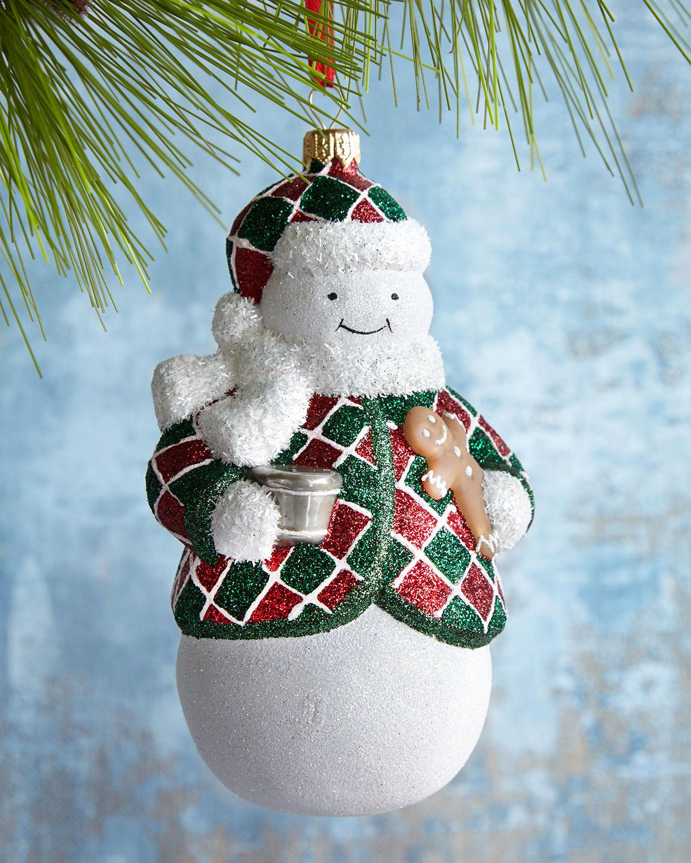 Nighty Night Charlie Plaid Snowman Ornament