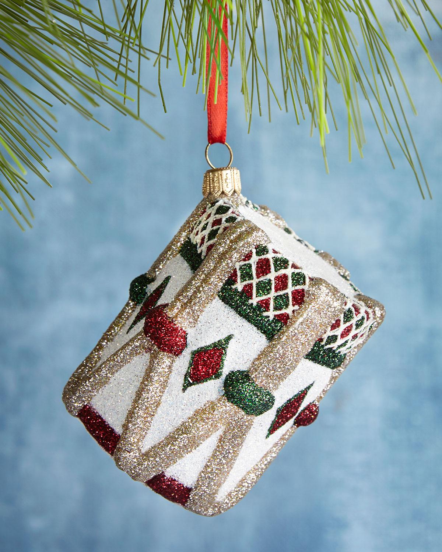 Diamond Drum Glittered Ornament