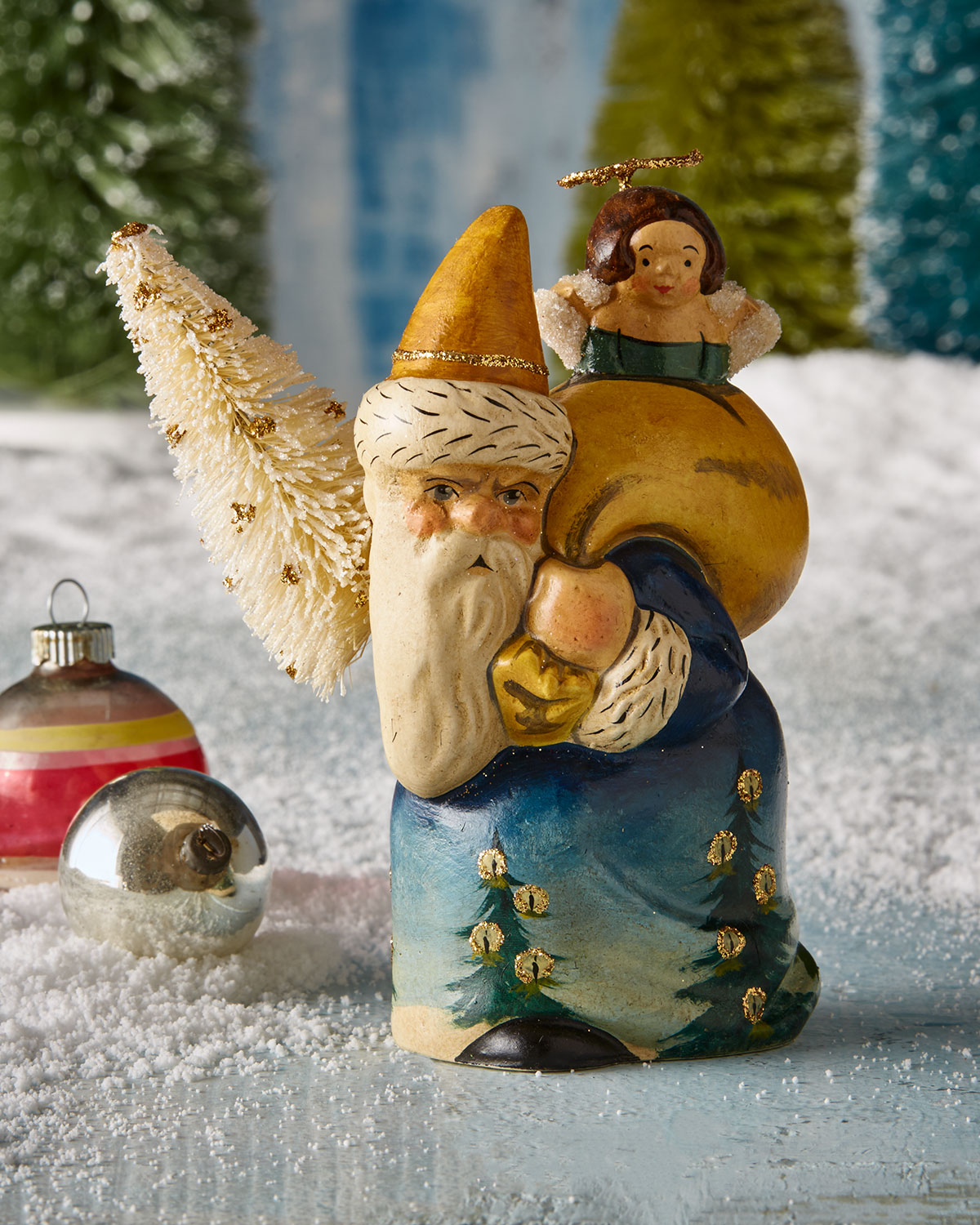Santa with Angel Heard by Candlelight Figurine