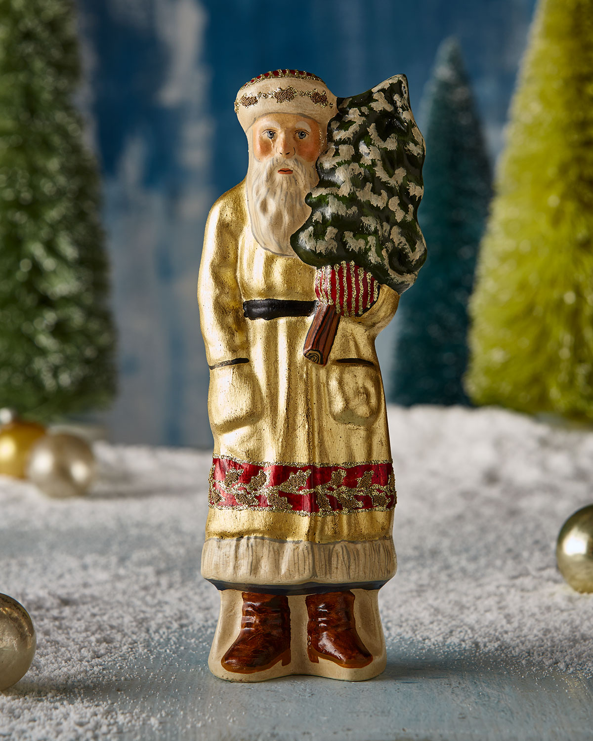 Santa in Gold with Tree Figurine