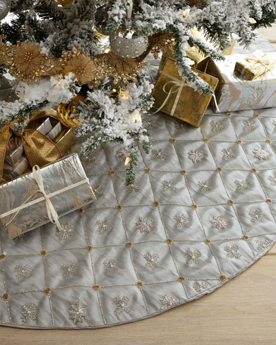 Beaded Snowflakes Grid Tissue Tree Skirt