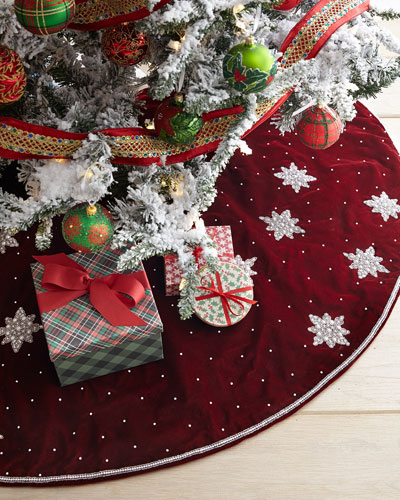 Velvet Beaded Star Tree Skirt