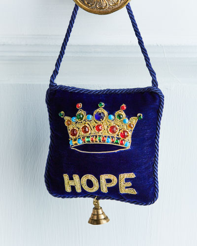 Embroidered Crown and Hope Velvet Door Knocker