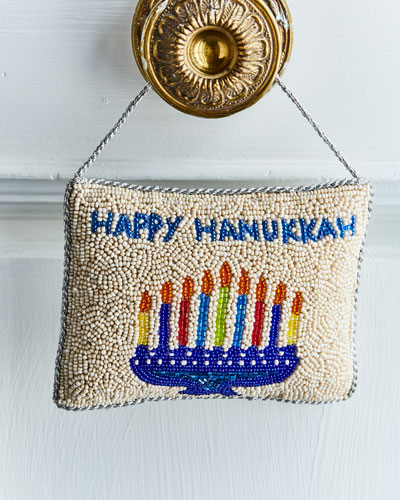 Menorah and Happy Hanukkah Beaded Door Knocker
