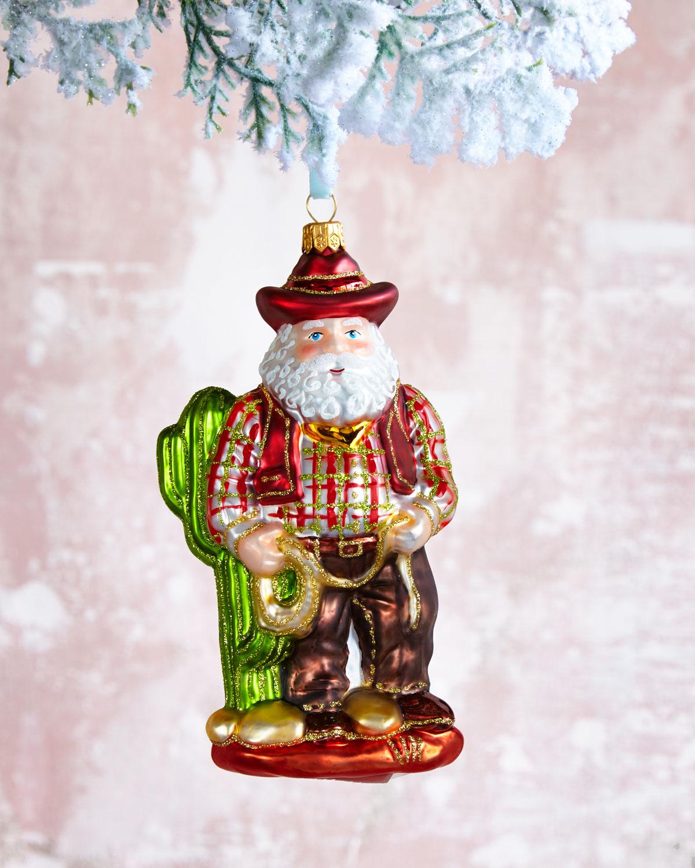 Texas Cactus Santa Christmas Ornament