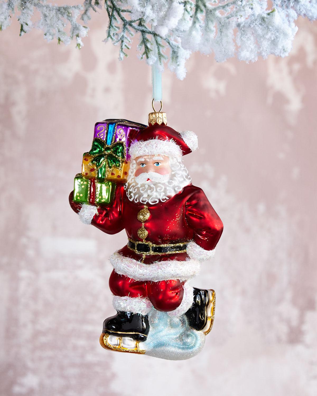 Skating Santa Christmas Ornament