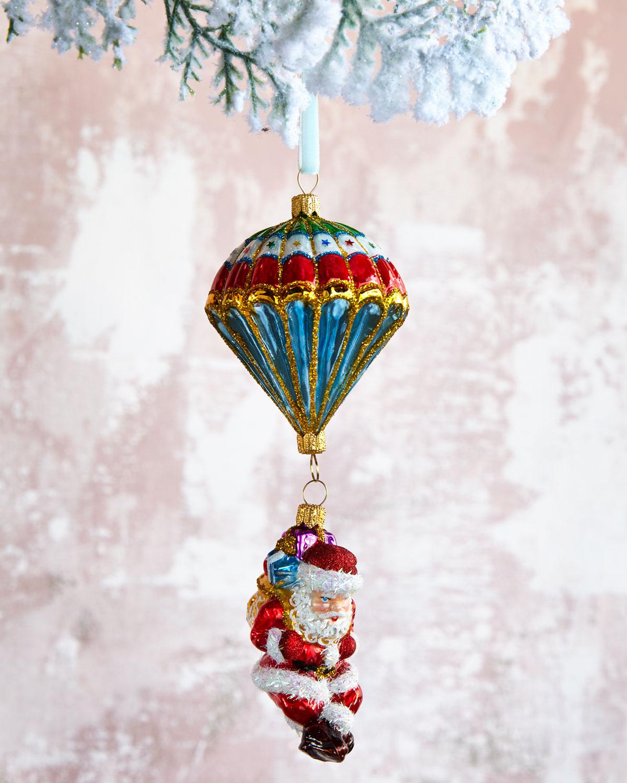 Parachuting Santa Glass Christmas Ornament