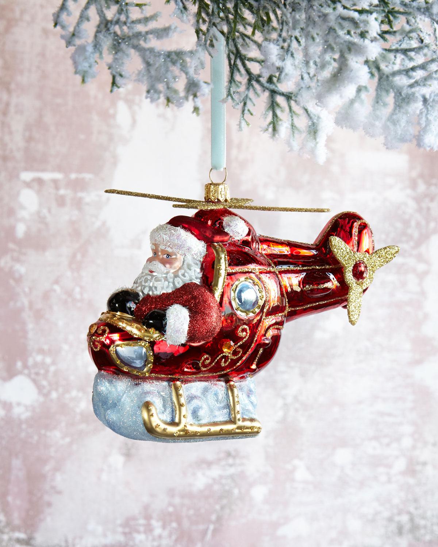 Helicopter Santa Christmas Ornament
