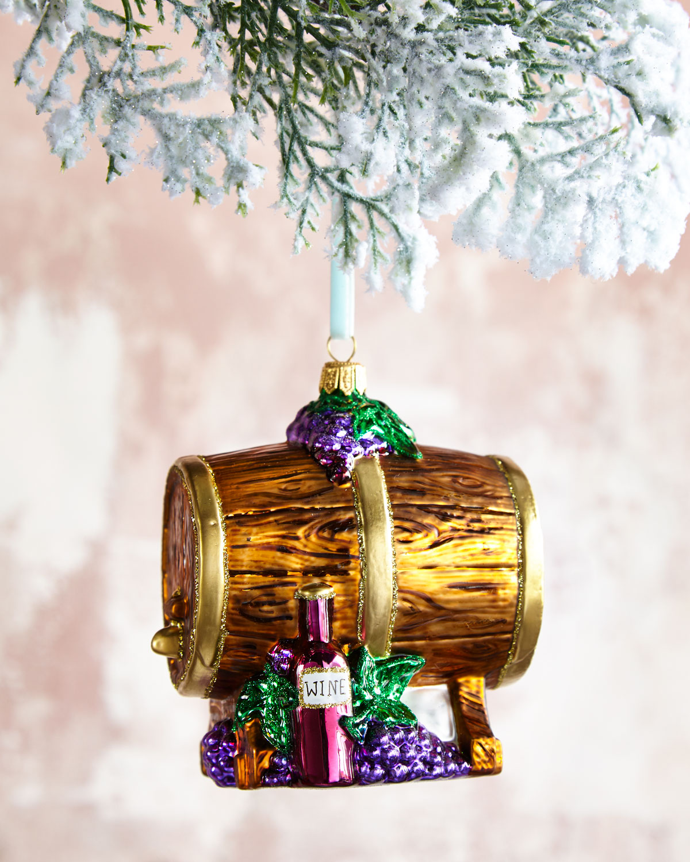 Wine Barrel Glass Christmas Ornament
