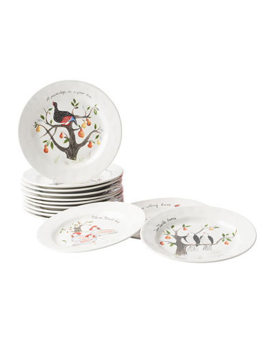 Twelve Days of Christmas Cocktail Plate Set, Set of 12