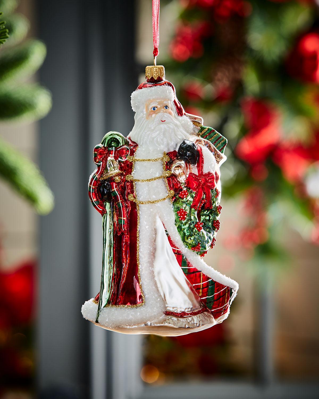Santa With Wreath Christmas Ornament