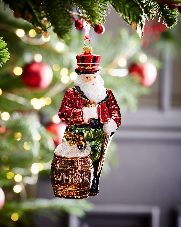 Whiskey Santa Christmas Ornament
