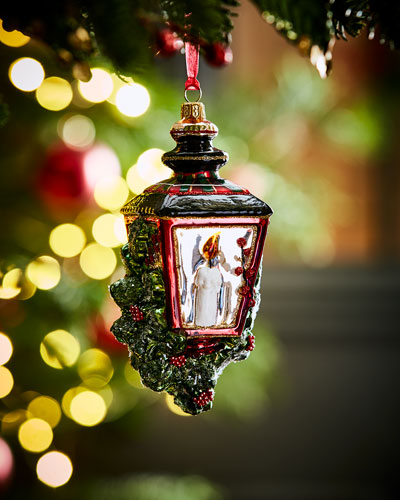 hand painted glass lantern christmas ornament